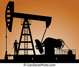 Silhouette of oil pump - Pump rocking. Crude oil production...