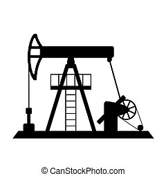 Silhouette of oil pump - vector isolated on a white...