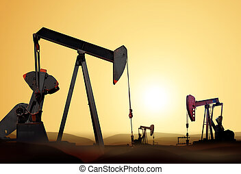 silhouette of oil pump - Working oil pump in deserted...