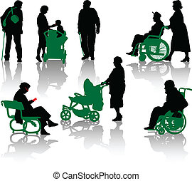Silhouette of old and disabled