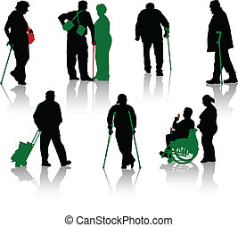 Silhouette of old people and disabl