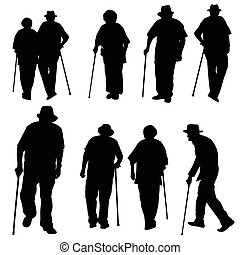 Silhouette of old people