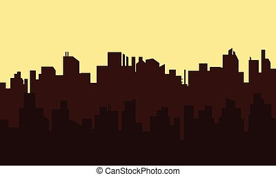 Silhouette of old town at morning