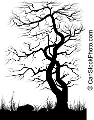 Silhouette of old tree and grass over white background.