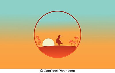 Silhouette of one bird on the hill scenery
