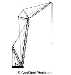Silhouette of one cranes. Vector illustration.