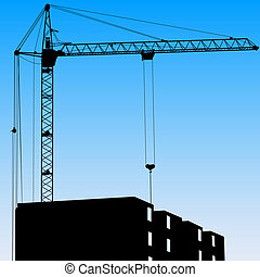 Silhouette of one cranes working on the building on a blue background