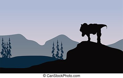 Silhouette of one tyrannosaurus in the hills