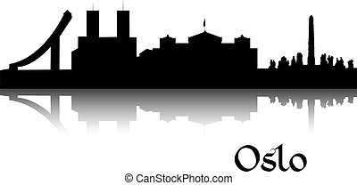 Black silhouette of Oslo the capital of Norway