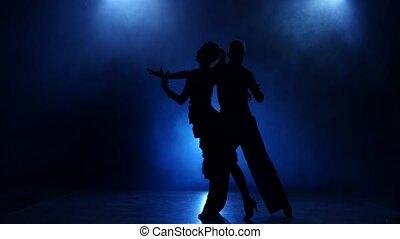 Silhouette of pair dancers performing rumba dance in smoky studio