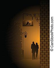 silhouette of pair