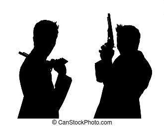 silhouette of pair of men with pistols