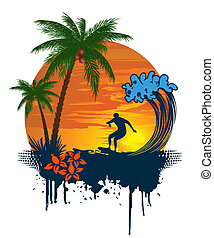 Silhouette of palm and surfer on tr