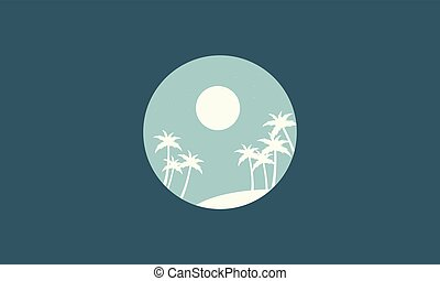 Silhouette of palm scenery collection stock