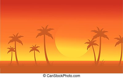 Silhouette of palm with big sun scenery
