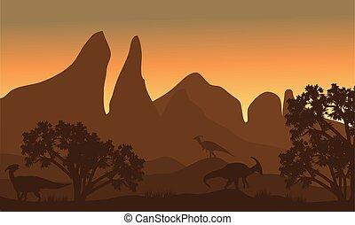 Silhouette of parasaurolophus in fields