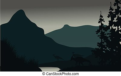 Silhouette of parasaurolophus in river