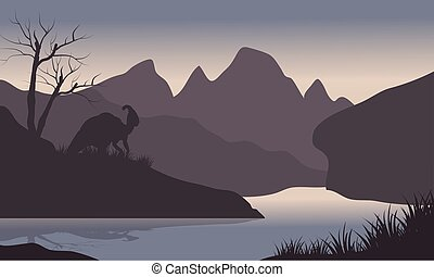 Silhouette of parasaurolophus in riverbank