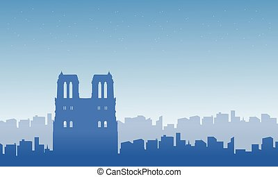 Silhouette of Paris city landscape