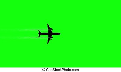 Silhouette of modern passenger airliner flying fast on green chromakey background bottom view computer generated imagery