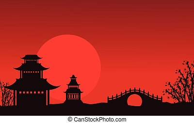 Silhouette of pavilion and bridge Chinese theme