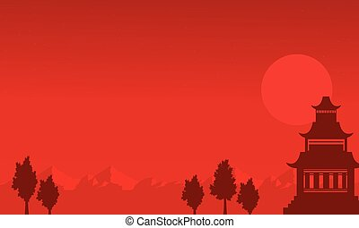 Silhouette of pavilion on the mountain scenery