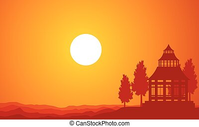 Silhouette of pavilion on the sunset