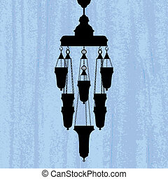 silhouette of pendant chandelier