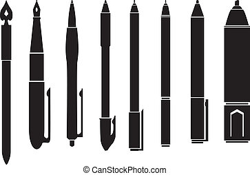 Silhouette of pens - Silhouette image of pens of different...