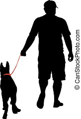 Silhouette of people and dog. Vector illustration