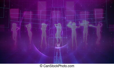 Silhouette of people dancing over music equalizer against purple background