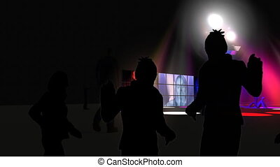 Silhouette of people dancing with colorful spotlights in...
