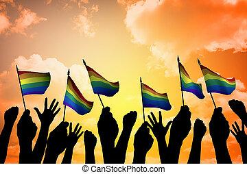 People Holding Gay Pride Symbol FLag