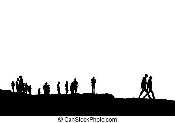 silhouette of people on peak with clipping path