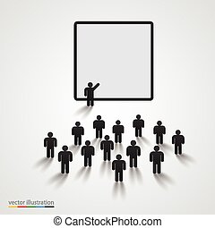 Silhouette of people on presentation. Vector illustration
