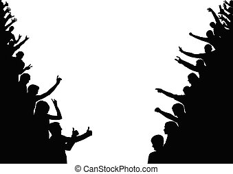 Silhouette of people on sides. Crowd, audience, fan. Vector