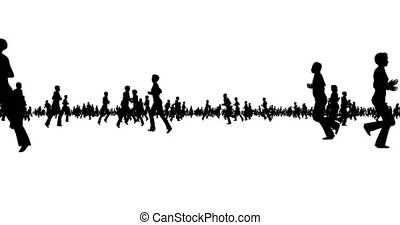 Silhouette of people running on white