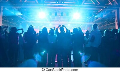 Silhouette of people who look a concert