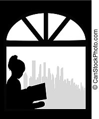 Silhouette of people with a book.