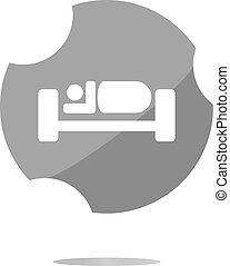 silhouette of person in bed, web icon isolated on white