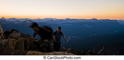 Silhouette of Person on Mountain Top
