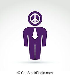 Silhouette of person standing in front - vector illustration of peacemaker. Delegate, consultant, white-collar worker. Vector peace symbol from 60th, pacifist icon, antiwar concept.