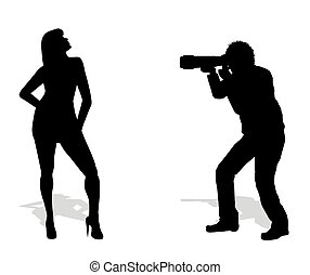 photographer and model - silhouette of photographer and...