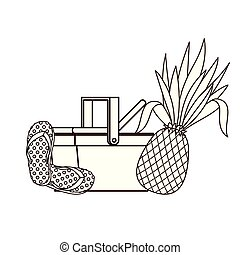 silhouette of picnic basket with tropical fruits