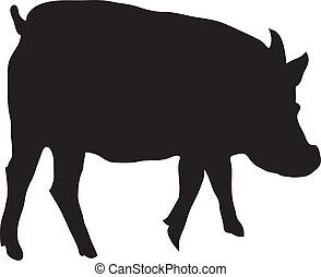 Silhouette Of Pig On A White Background Vector