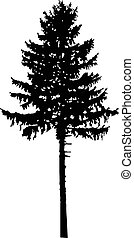Silhouette of pine tree. Can be used as poster, badge,...