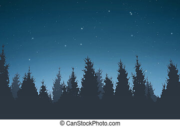 Silhouette of pine trees at night