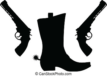 silhouette of pistols and boot with spurs