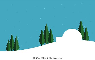 Silhouette of pole house Christmas