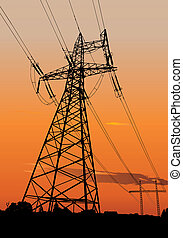 Silhouette of Power lines and electric pylons